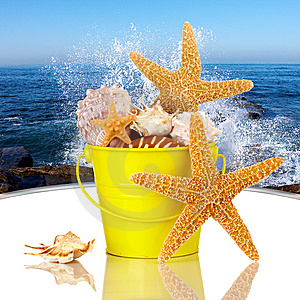 starfish-sea-shells-in-yellow-beach-bucket-thumb9027166