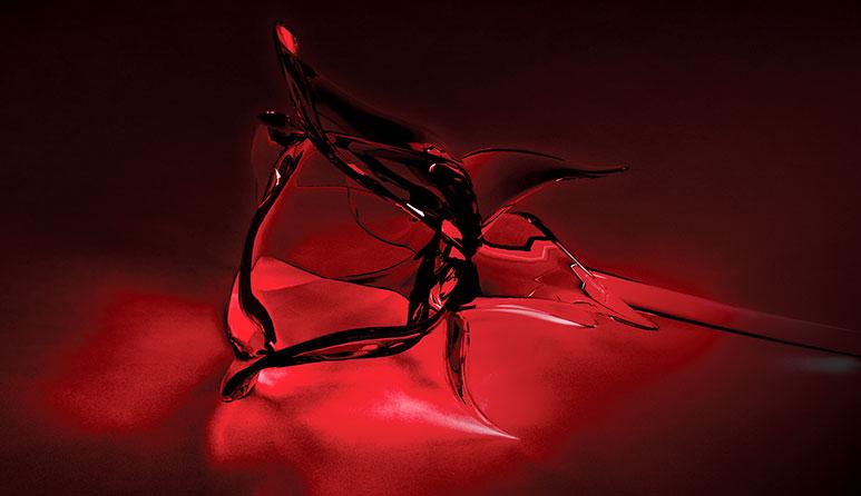 червена стъклена роза