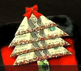 коледна елха от доларови банкноти