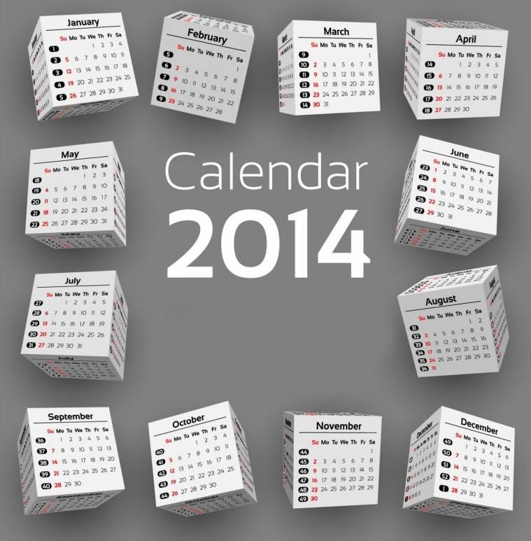 Календари за  2014 година