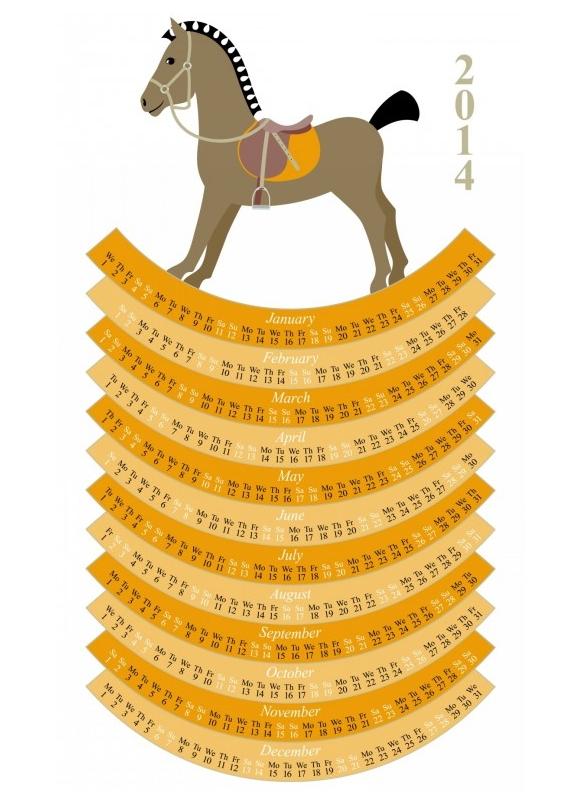 календар за годината на коня 2014