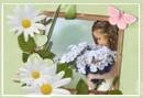 картички осми март, цветя, дете мама