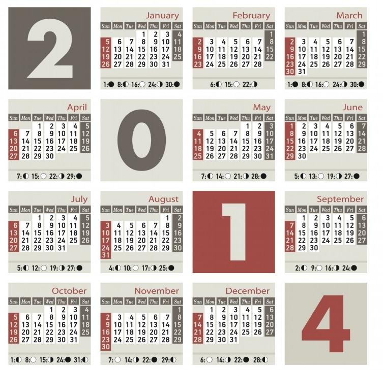 лунен календар 2014 година