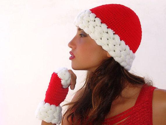 плетена коледна шапка