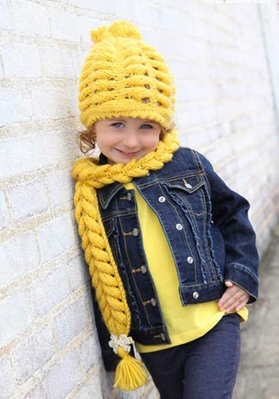 Комплект шал и шапка Рапунцел