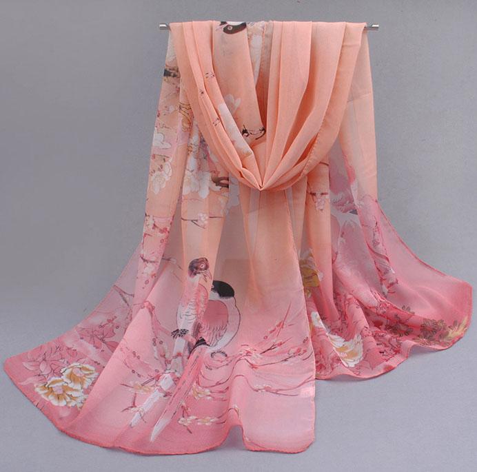 розов, прозрачен шал с птици и  клони