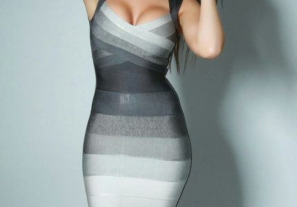 Сива рокля в преливащи нюанси