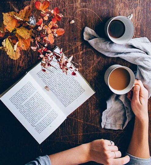 релакс есен кафе книга листа