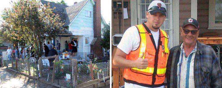 Джош (Josh Cyganik) и доброволци помагат и боядисват домът на възрастния човек