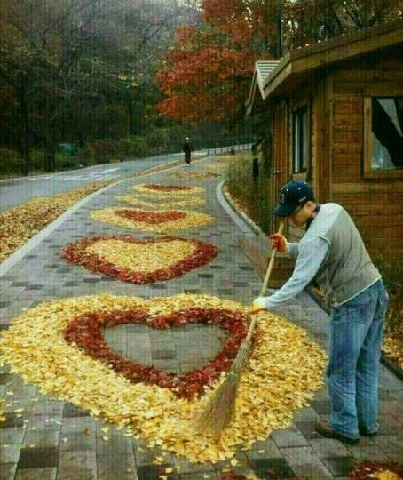 сърца от есенни листа