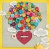 разноцветни балони от копчета